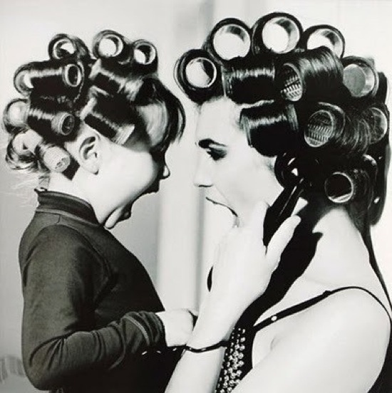 mom in curlers